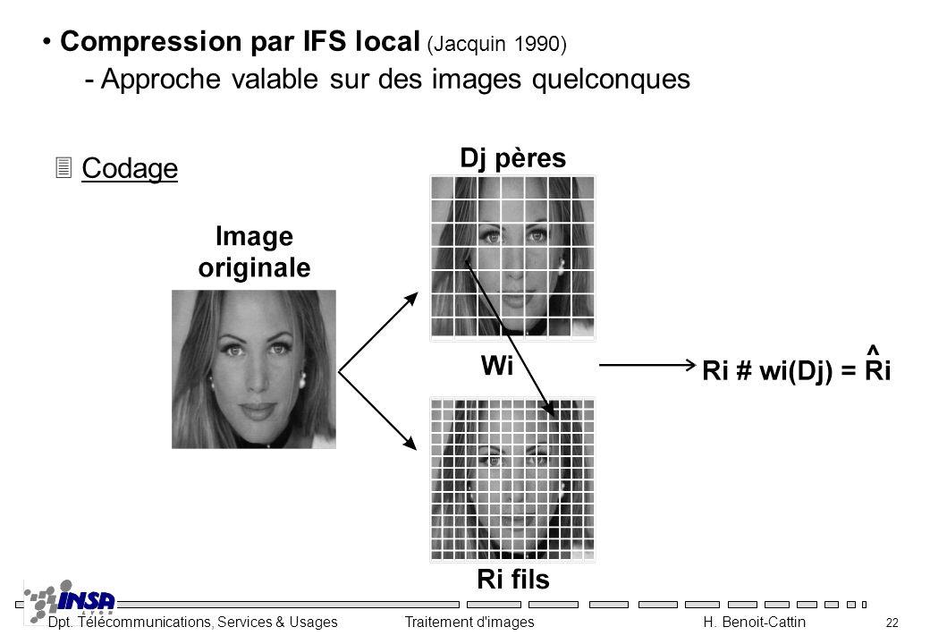 Dpt. Télécommunications, Services & Usages Traitement d'images H. Benoit-Cattin 22 Compression par IFS local (Jacquin 1990) - Approche valable sur des