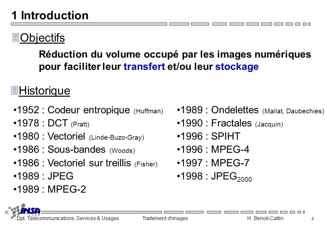 Dpt. Télécommunications, Services & Usages Traitement d'images H. Benoit-Cattin 4 1 Introduction 3Historique 3Objectifs 1952 : Codeur entropique (Huff