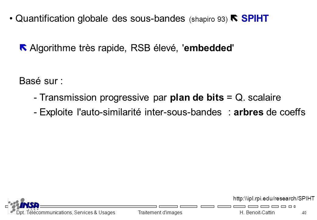 Dpt. Télécommunications, Services & Usages Traitement d'images H. Benoit-Cattin 40 Quantification globale des sous-bandes (shapiro 93) SPIHT http:\\ip