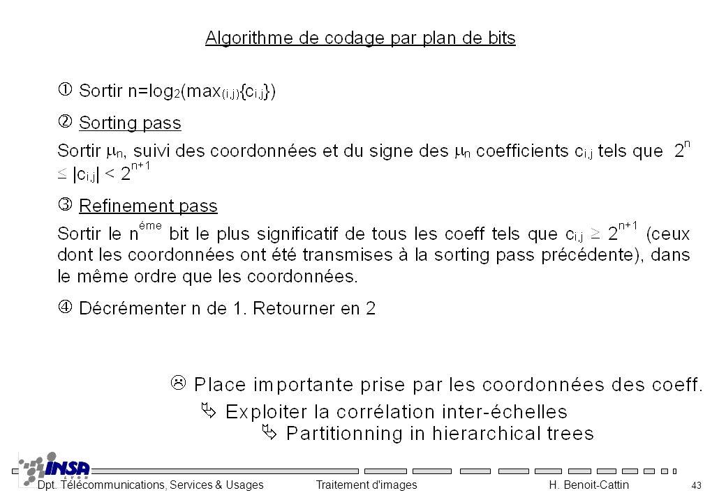 Dpt. Télécommunications, Services & Usages Traitement d'images H. Benoit-Cattin 43