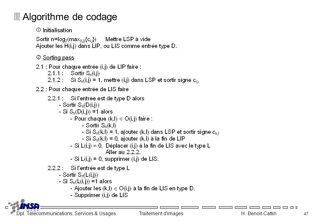 Dpt. Télécommunications, Services & Usages Traitement d'images H. Benoit-Cattin 47 3 Algorithme de codage