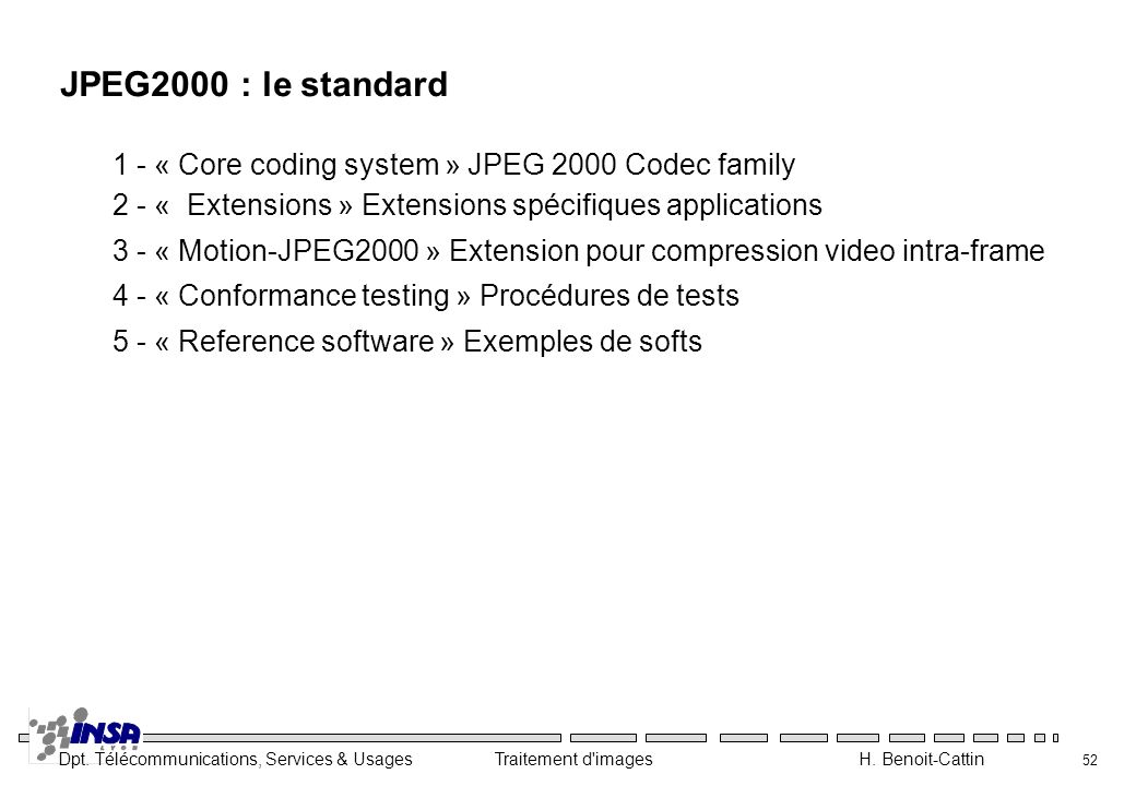 Dpt. Télécommunications, Services & Usages Traitement d'images H. Benoit-Cattin 52 JPEG2000 : le standard 1 - « Core coding system » JPEG 2000 Codec f