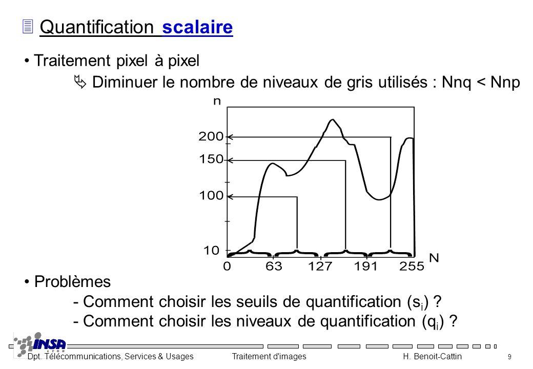 Dpt. Télécommunications, Services & Usages Traitement d'images H. Benoit-Cattin 9 3 Quantification scalaire Traitement pixel à pixel Diminuer le nombr