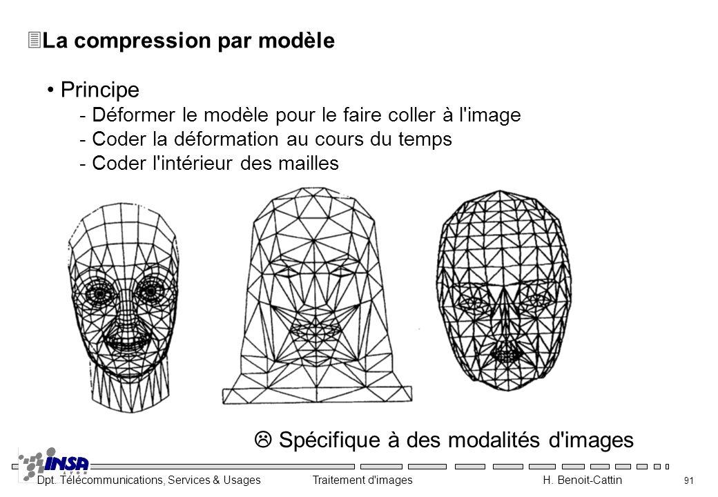 Dpt. Télécommunications, Services & Usages Traitement d'images H. Benoit-Cattin 91 3La compression par modèle Principe - Déformer le modèle pour le fa