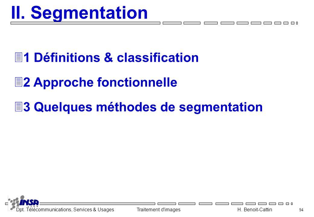 Dpt. Télécommunications, Services & Usages Traitement d'images H. Benoit-Cattin 94 II. Segmentation 31 Définitions & classification 32 Approche foncti