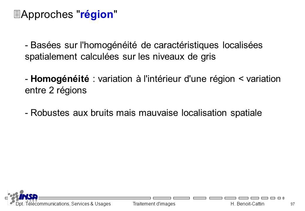Dpt. Télécommunications, Services & Usages Traitement d'images H. Benoit-Cattin 97 3Approches