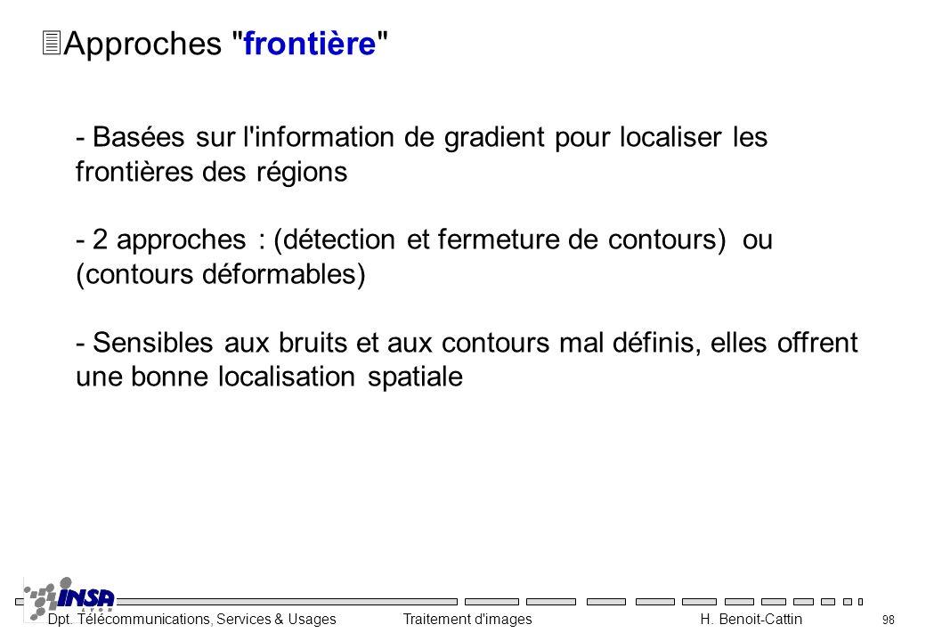 Dpt. Télécommunications, Services & Usages Traitement d'images H. Benoit-Cattin 98 3Approches