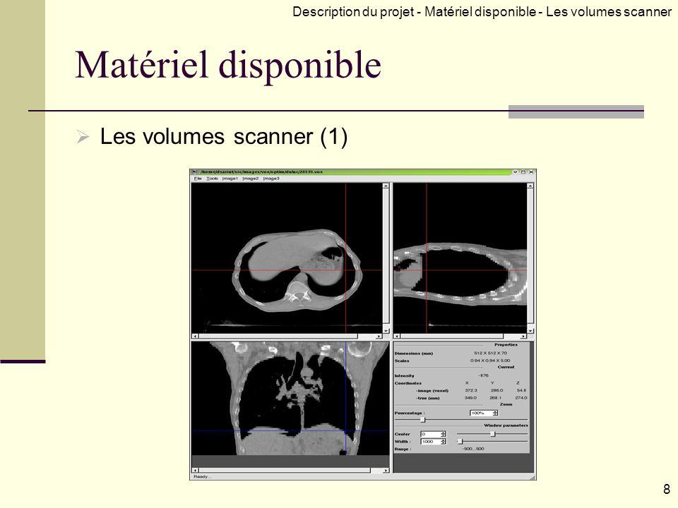 Matériel disponible Les volumes scanner (1) Description du projet - Matériel disponible - Les volumes scanner 8