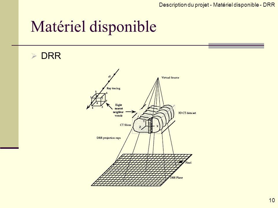 Matériel disponible DRR 10 Description du projet - Matériel disponible - DRR
