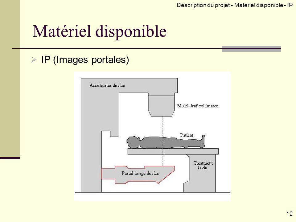 Matériel disponible IP (Images portales) Description du projet - Matériel disponible - IP 12