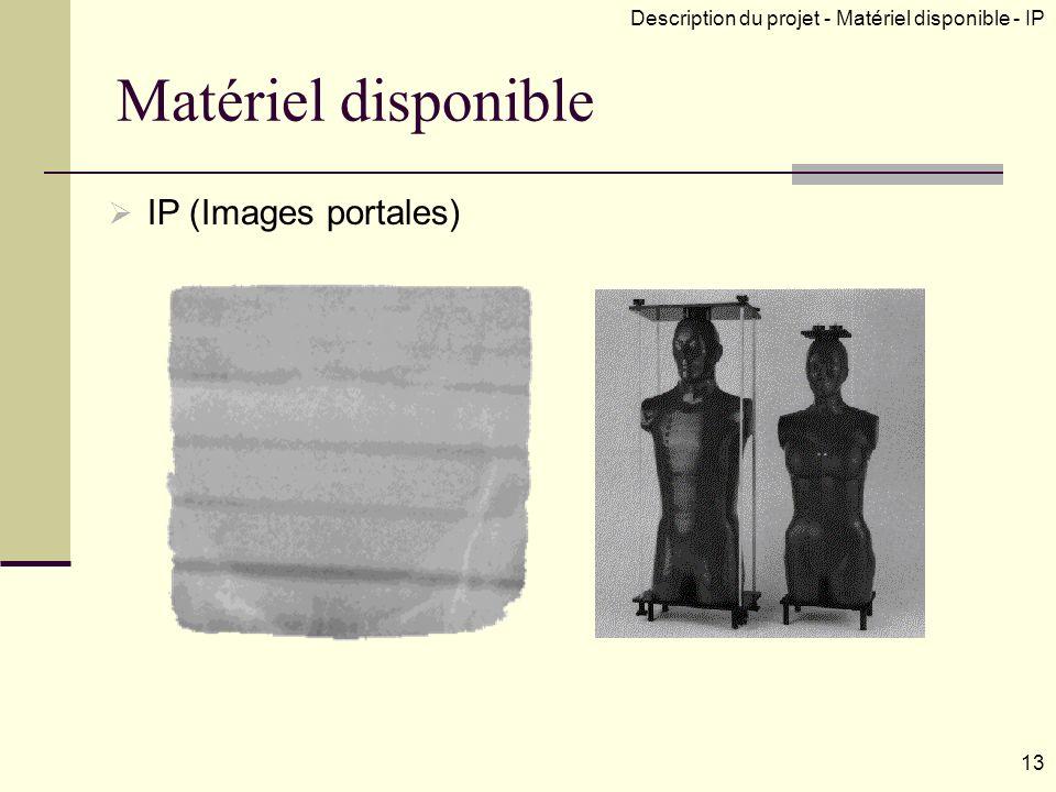 Matériel disponible IP (Images portales) Description du projet - Matériel disponible - IP 13