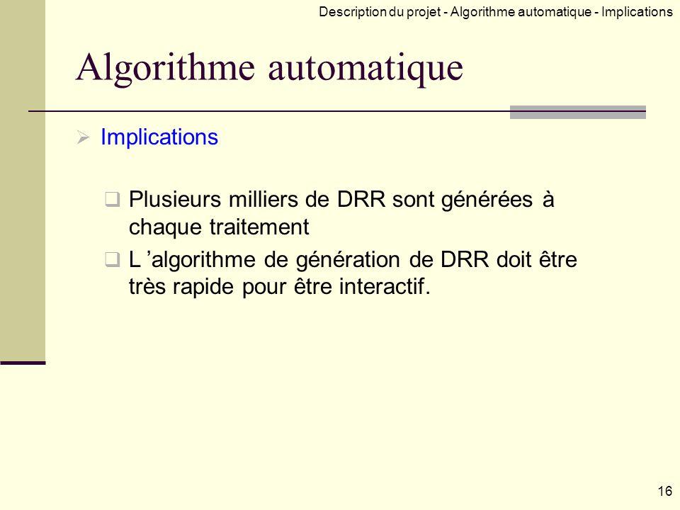 Algorithme automatique Implications Plusieurs milliers de DRR sont générées à chaque traitement L algorithme de génération de DRR doit être très rapide pour être interactif.