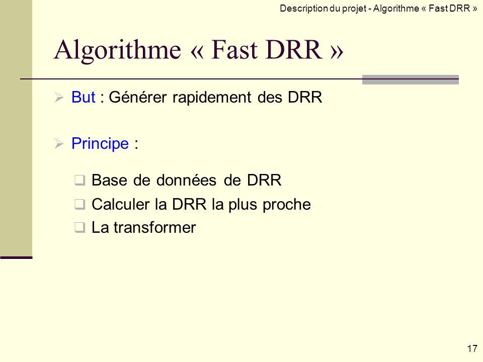 Algorithme « Fast DRR » But : Générer rapidement des DRR Principe : Description du projet - Algorithme « Fast DRR » Base de données de DRR Calculer la DRR la plus proche La transformer 17
