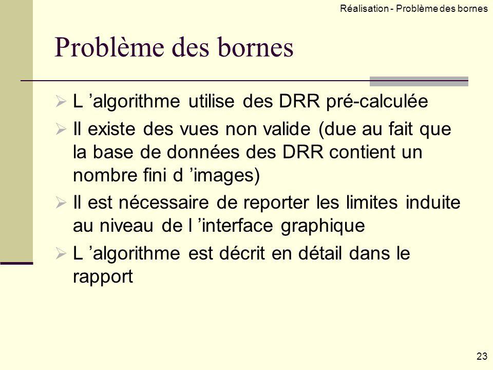 Problème des bornes L algorithme utilise des DRR pré-calculée Il existe des vues non valide (due au fait que la base de données des DRR contient un nombre fini d images) Il est nécessaire de reporter les limites induite au niveau de l interface graphique L algorithme est décrit en détail dans le rapport 23 Réalisation - Problème des bornes