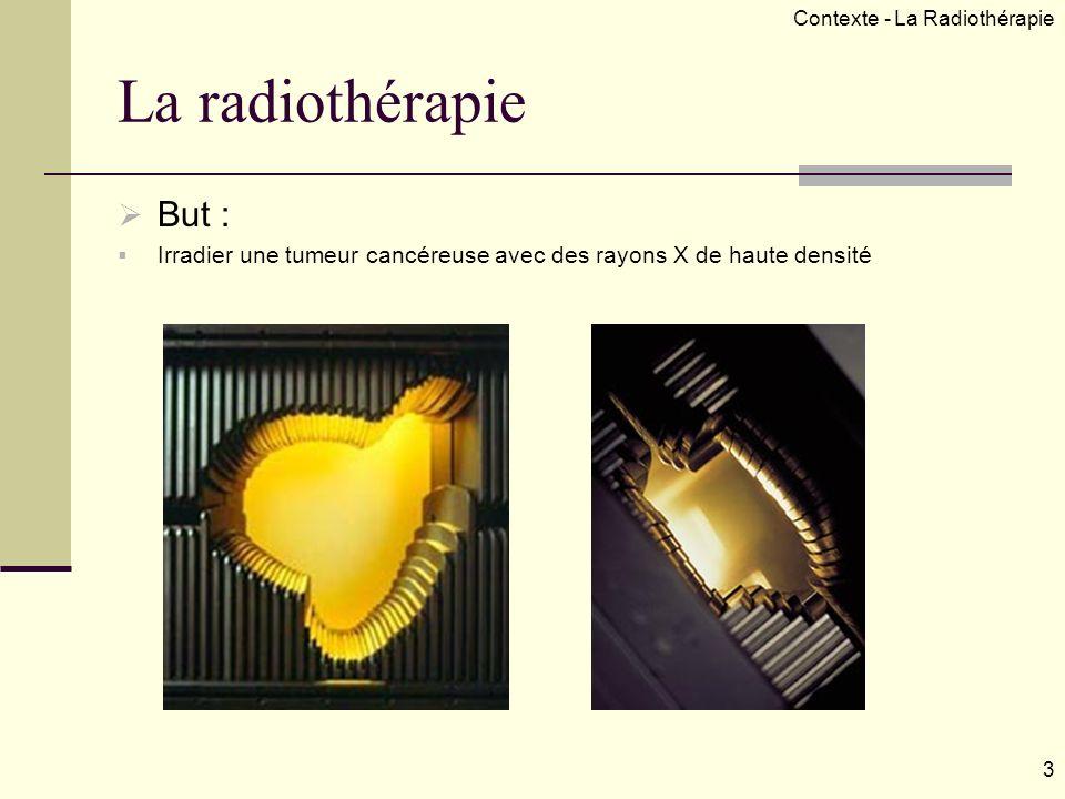 La radiothérapie But : Irradier une tumeur cancéreuse avec des rayons X de haute densité Contexte - La Radiothérapie 3