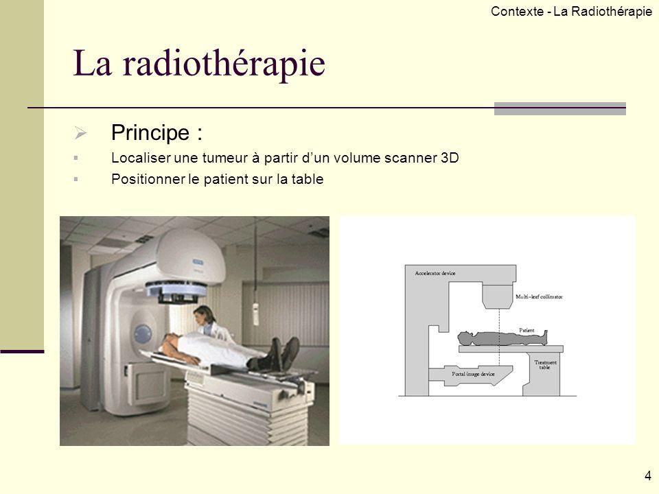 La radiothérapie Principe : Localiser une tumeur à partir dun volume scanner 3D Positionner le patient sur la table 4 Contexte - La Radiothérapie