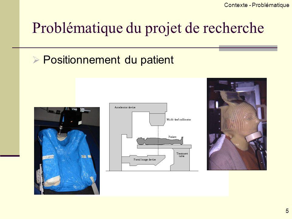 Problématique du projet de recherche Positionnement du patient 5 Contexte - Problématique