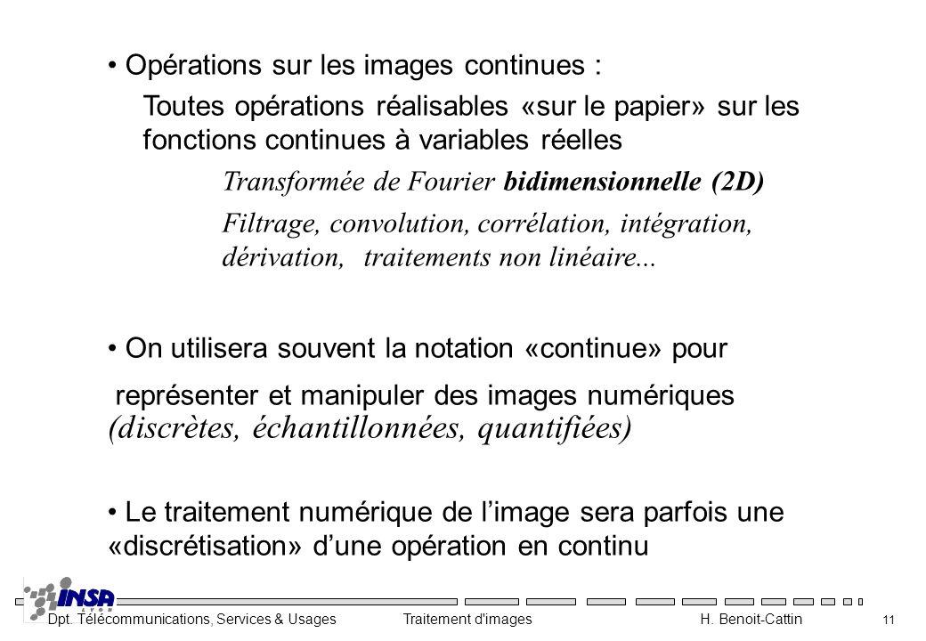 Dpt. Télécommunications, Services & Usages Traitement d'images H. Benoit-Cattin 11 Opérations sur les images continues : Toutes opérations réalisables