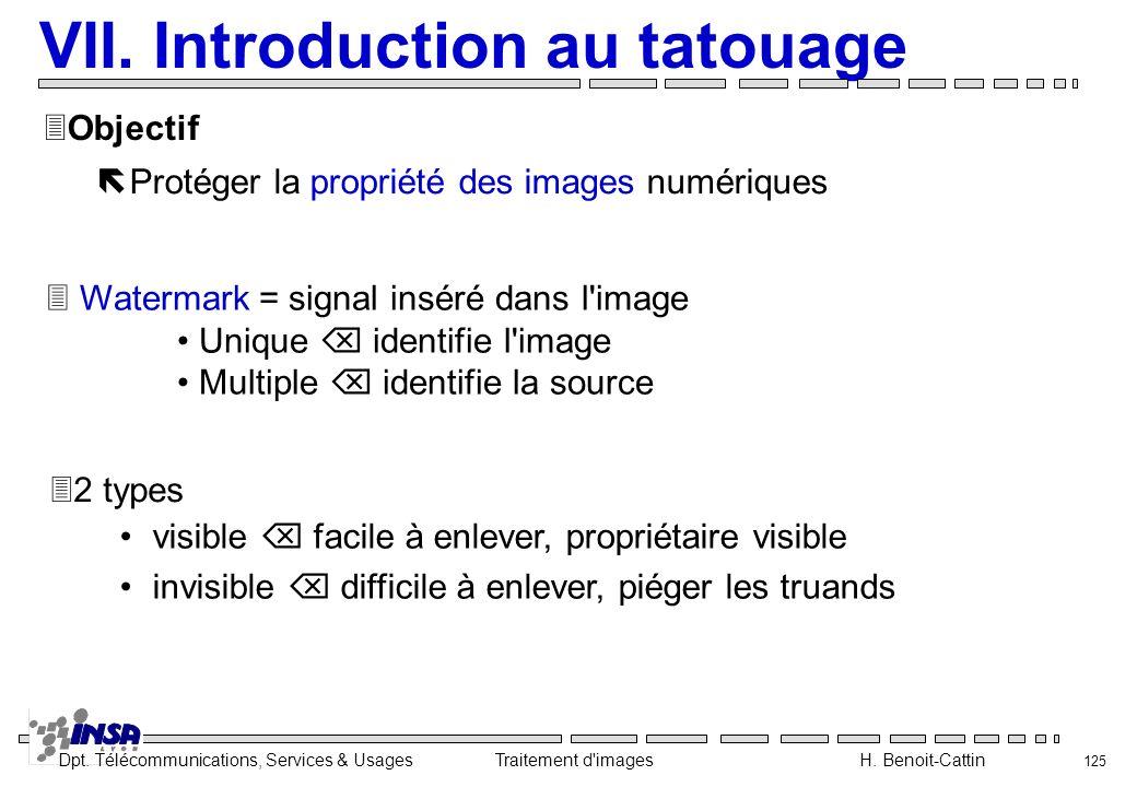 Dpt. Télécommunications, Services & Usages Traitement d'images H. Benoit-Cattin 125 VII. Introduction au tatouage ëProtéger la propriété des images nu