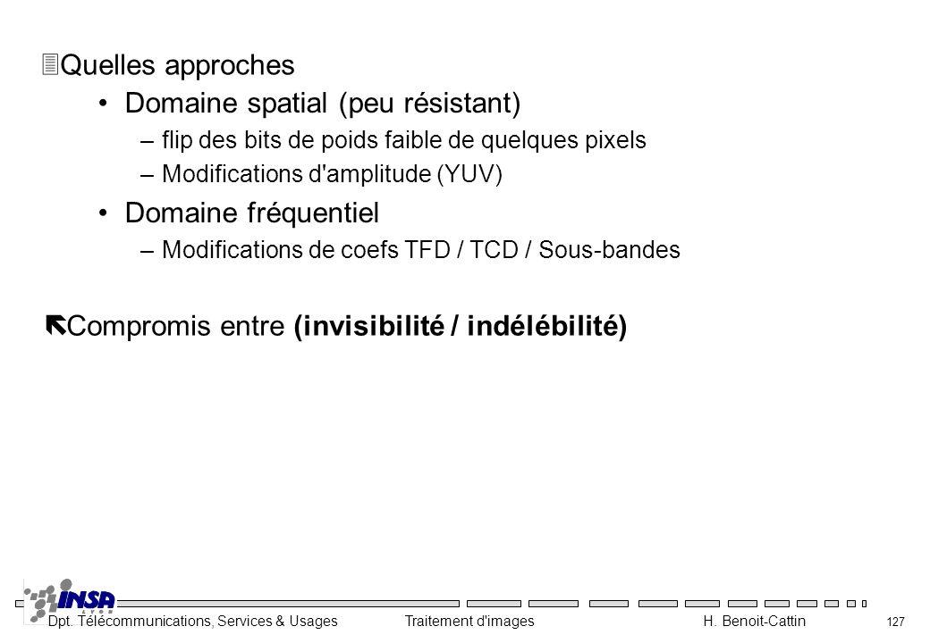Dpt. Télécommunications, Services & Usages Traitement d'images H. Benoit-Cattin 127 Domaine spatial (peu résistant) –flip des bits de poids faible de
