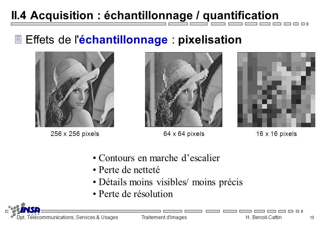 Dpt. Télécommunications, Services & Usages Traitement d'images H. Benoit-Cattin 19 II.4 Acquisition : échantillonnage / quantification 3 Effets de l'é