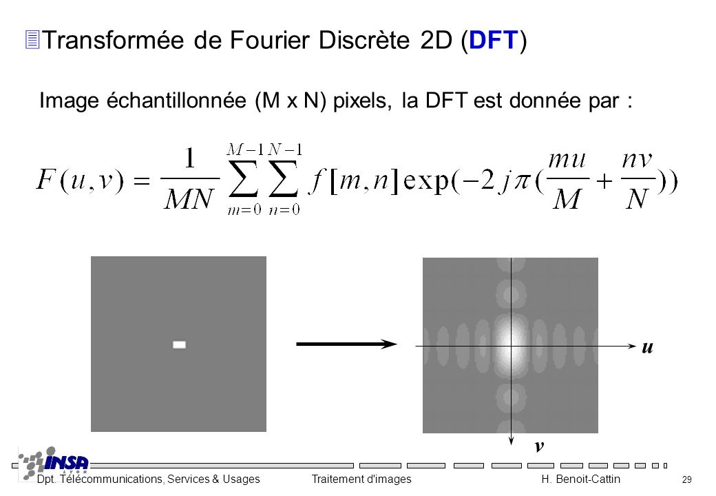 Dpt. Télécommunications, Services & Usages Traitement d'images H. Benoit-Cattin 29 3Transformée de Fourier Discrète 2D (DFT) Image échantillonnée (M x
