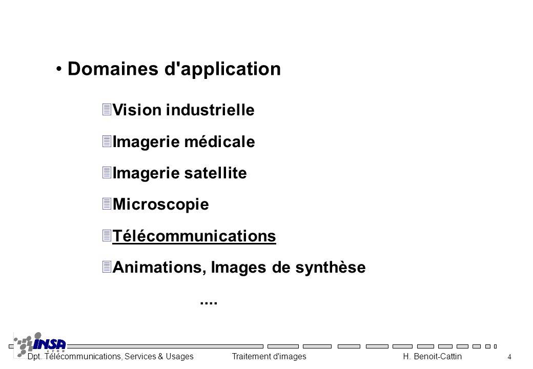 Dpt. Télécommunications, Services & Usages Traitement d'images H. Benoit-Cattin 4 Domaines d'application 3Vision industrielle 3Imagerie médicale 3Imag