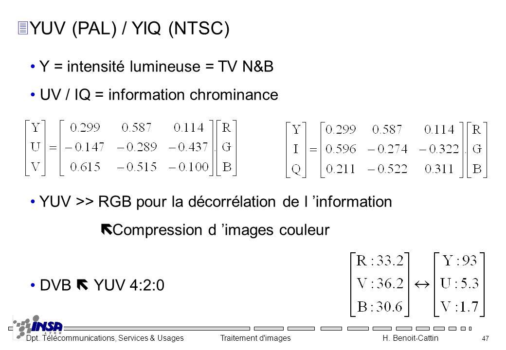 Dpt. Télécommunications, Services & Usages Traitement d'images H. Benoit-Cattin 47 3YUV (PAL) / YIQ (NTSC) Y = intensité lumineuse = TV N&B UV / IQ =