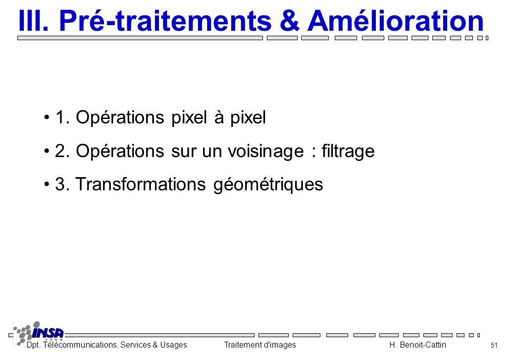 Dpt. Télécommunications, Services & Usages Traitement d'images H. Benoit-Cattin 51 III. Pré-traitements & Amélioration 1. Opérations pixel à pixel 2.