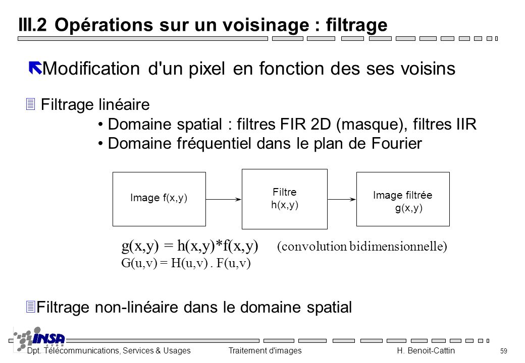 Dpt. Télécommunications, Services & Usages Traitement d'images H. Benoit-Cattin 59 III.2 Opérations sur un voisinage : filtrage ë Modification d'un pi