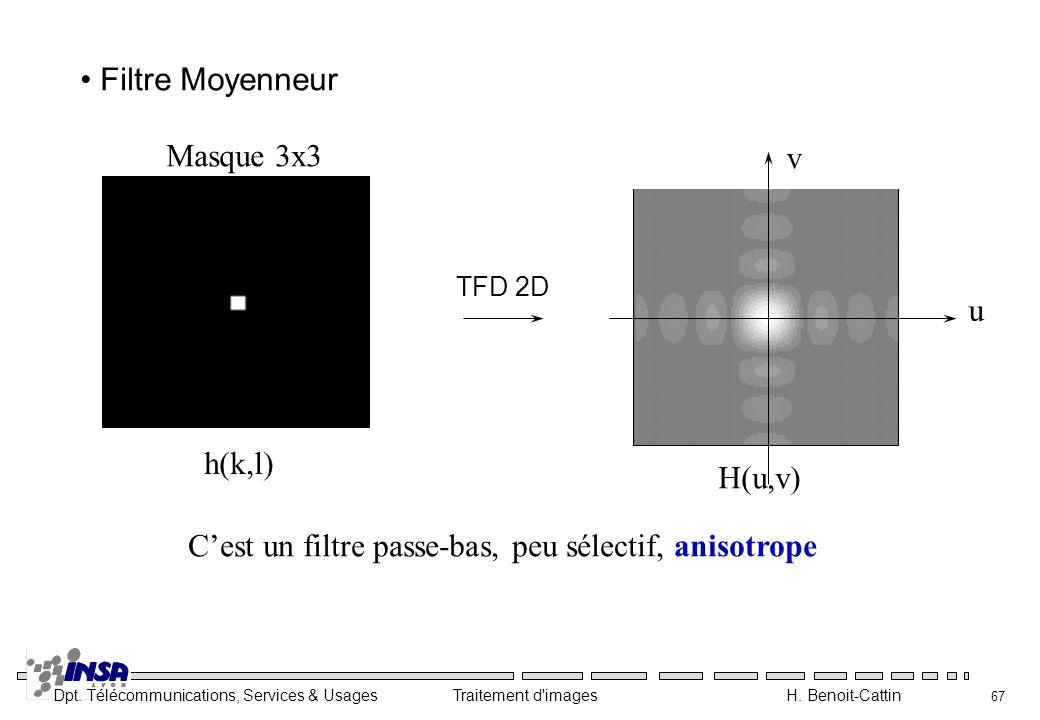 Dpt. Télécommunications, Services & Usages Traitement d'images H. Benoit-Cattin 67 Cest un filtre passe-bas, peu sélectif, anisotrope Masque 3x3 h(k,l