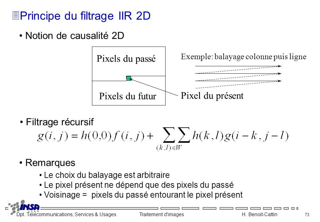 Dpt. Télécommunications, Services & Usages Traitement d'images H. Benoit-Cattin 73 Notion de causalité 2D Le choix du balayage est arbitraire Le pixel