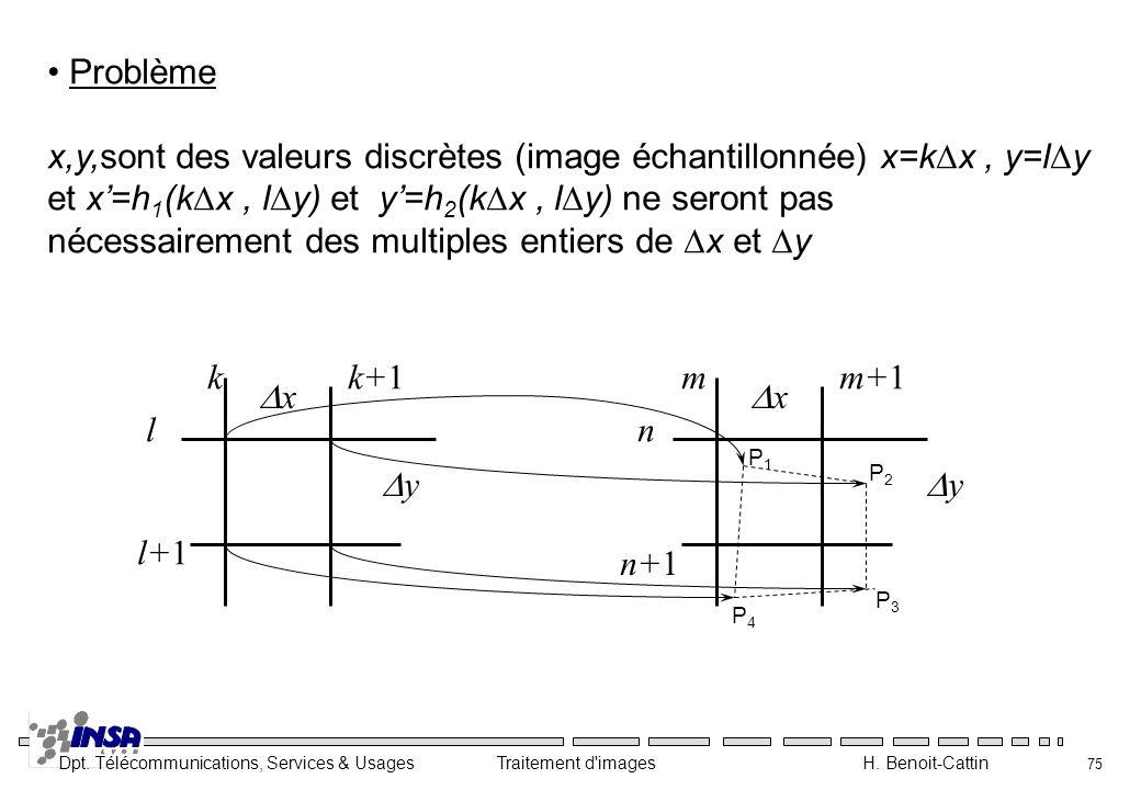 Dpt. Télécommunications, Services & Usages Traitement d'images H. Benoit-Cattin 75 Problème x,y,sont des valeurs discrètes (image échantillonnée) x=k