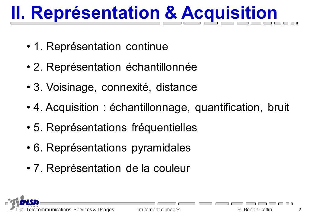 Dpt. Télécommunications, Services & Usages Traitement d'images H. Benoit-Cattin 8 II. Représentation & Acquisition 1. Représentation continue 2. Repré