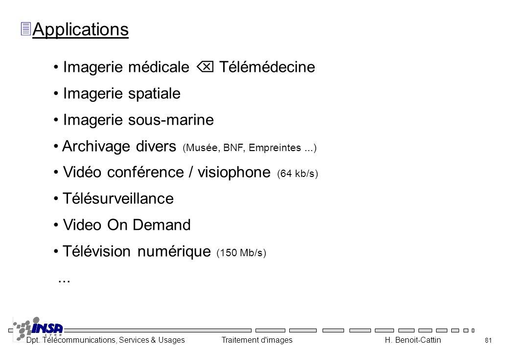 Dpt. Télécommunications, Services & Usages Traitement d'images H. Benoit-Cattin 81 3Applications Imagerie médicale Télémédecine Imagerie spatiale Imag