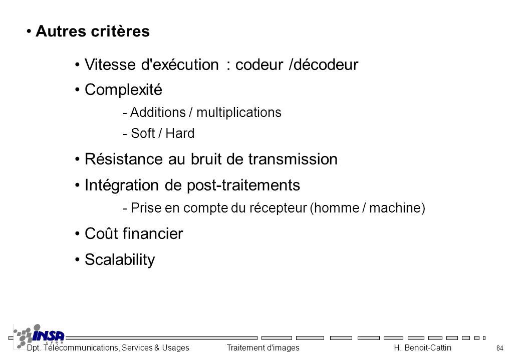 Dpt. Télécommunications, Services & Usages Traitement d'images H. Benoit-Cattin 84 Autres critères Vitesse d'exécution : codeur /décodeur Complexité -