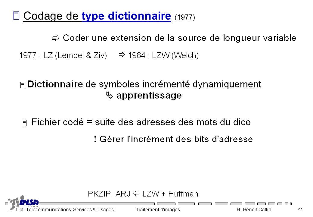 Dpt. Télécommunications, Services & Usages Traitement d'images H. Benoit-Cattin 92 3 Codage de type dictionnaire (1977)