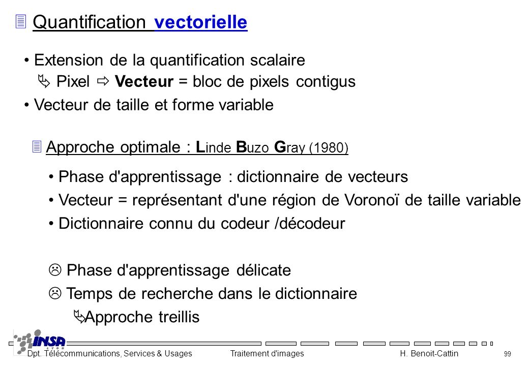 Dpt. Télécommunications, Services & Usages Traitement d'images H. Benoit-Cattin 99 3 Quantification vectorielle Extension de la quantification scalair