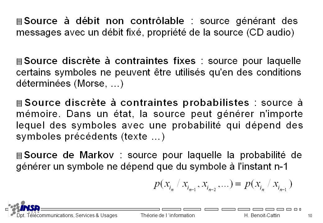 Dpt. Télécommunications, Services & Usages Théorie de l information H. Benoit-Cattin 10