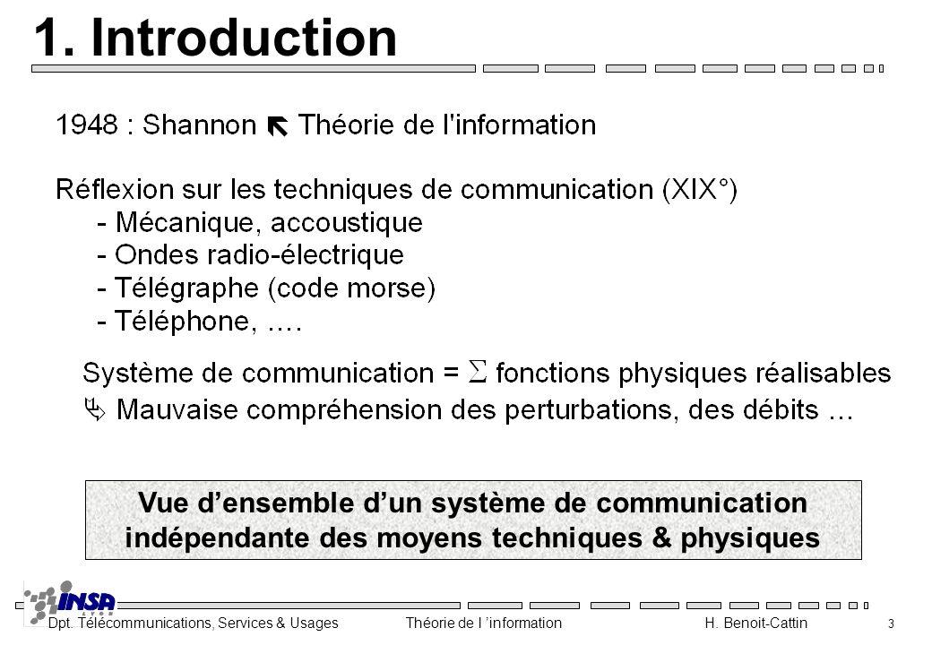 Dpt. Télécommunications, Services & Usages Théorie de l information H. Benoit-Cattin 4