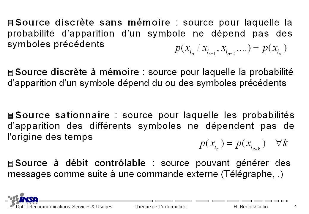 Dpt. Télécommunications, Services & Usages Théorie de l information H. Benoit-Cattin 9