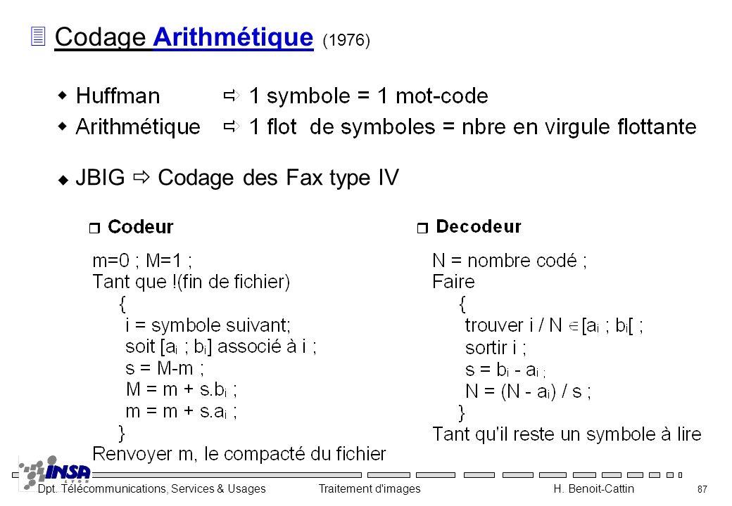 Dpt. Télécommunications, Services & Usages Traitement d'images H. Benoit-Cattin 87 3 Codage Arithmétique (1976) JBIG Codage des Fax type IV