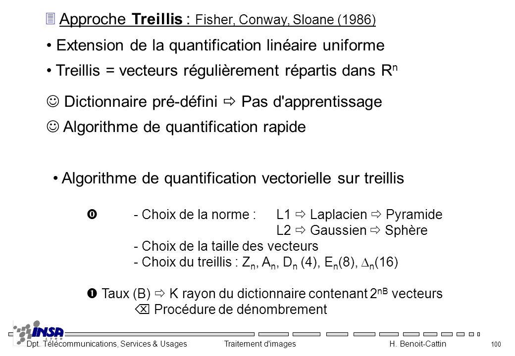Dpt. Télécommunications, Services & Usages Traitement d'images H. Benoit-Cattin 100 3 Approche Treillis : Fisher, Conway, Sloane (1986) Extension de l