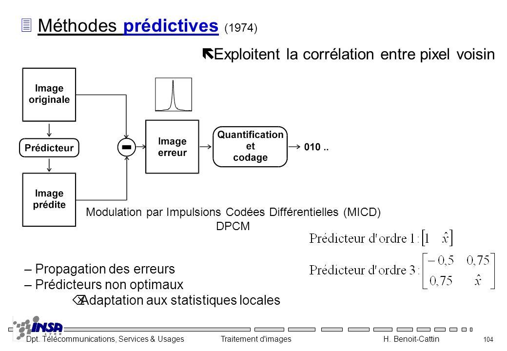 Dpt. Télécommunications, Services & Usages Traitement d'images H. Benoit-Cattin 104 3 Méthodes prédictives (1974) ë Exploitent la corrélation entre pi