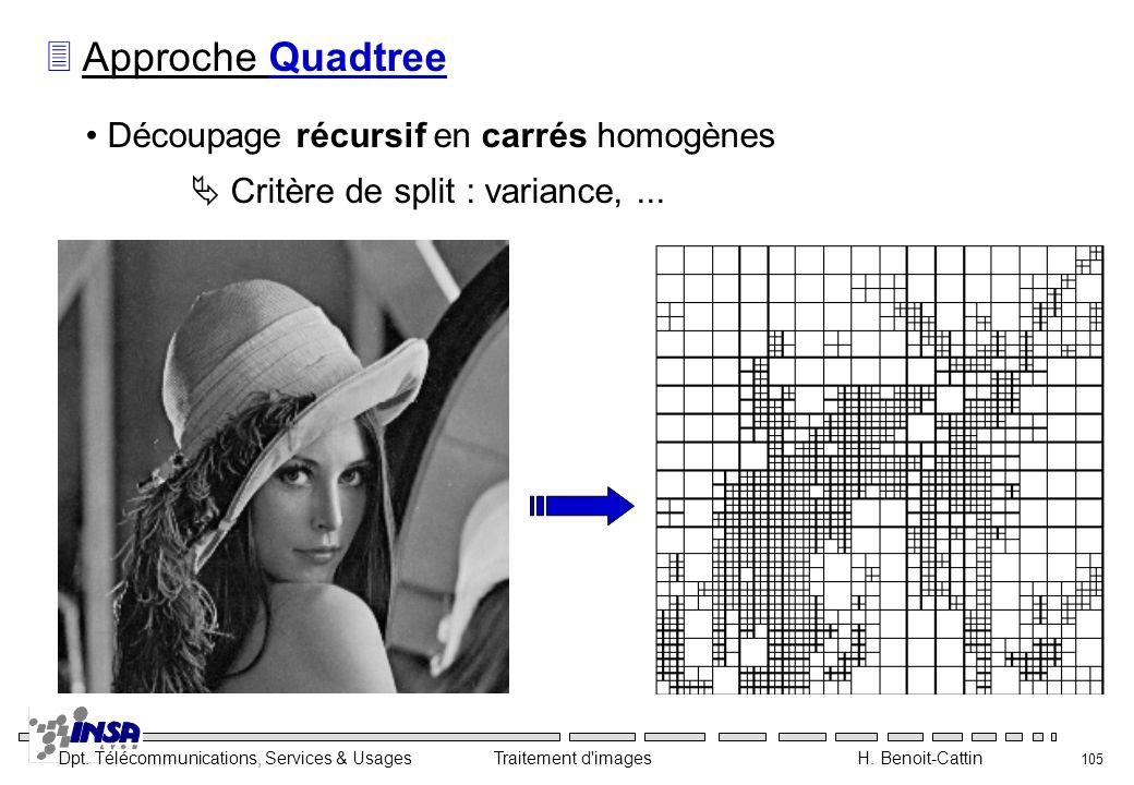 Dpt. Télécommunications, Services & Usages Traitement d'images H. Benoit-Cattin 105 3 Approche Quadtree Découpage récursif en carrés homogènes Critère