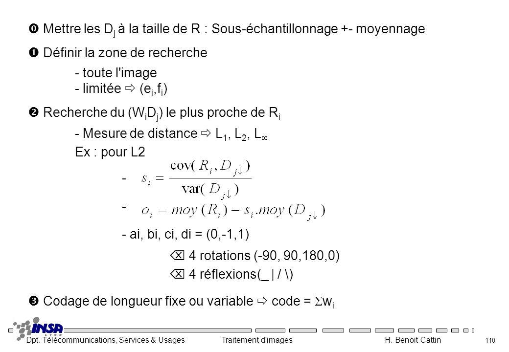 Dpt. Télécommunications, Services & Usages Traitement d'images H. Benoit-Cattin 110 Mettre les D j à la taille de R : Sous-échantillonnage +- moyennag