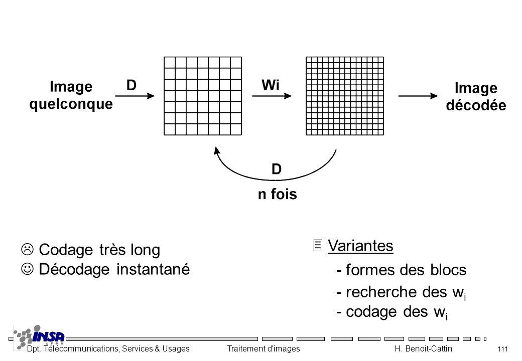 Dpt. Télécommunications, Services & Usages Traitement d'images H. Benoit-Cattin 111 3 Variantes - formes des blocs - recherche des w i - codage des w