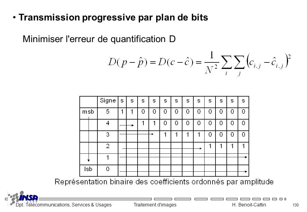Dpt. Télécommunications, Services & Usages Traitement d'images H. Benoit-Cattin 130 Transmission progressive par plan de bits Minimiser l'erreur de qu