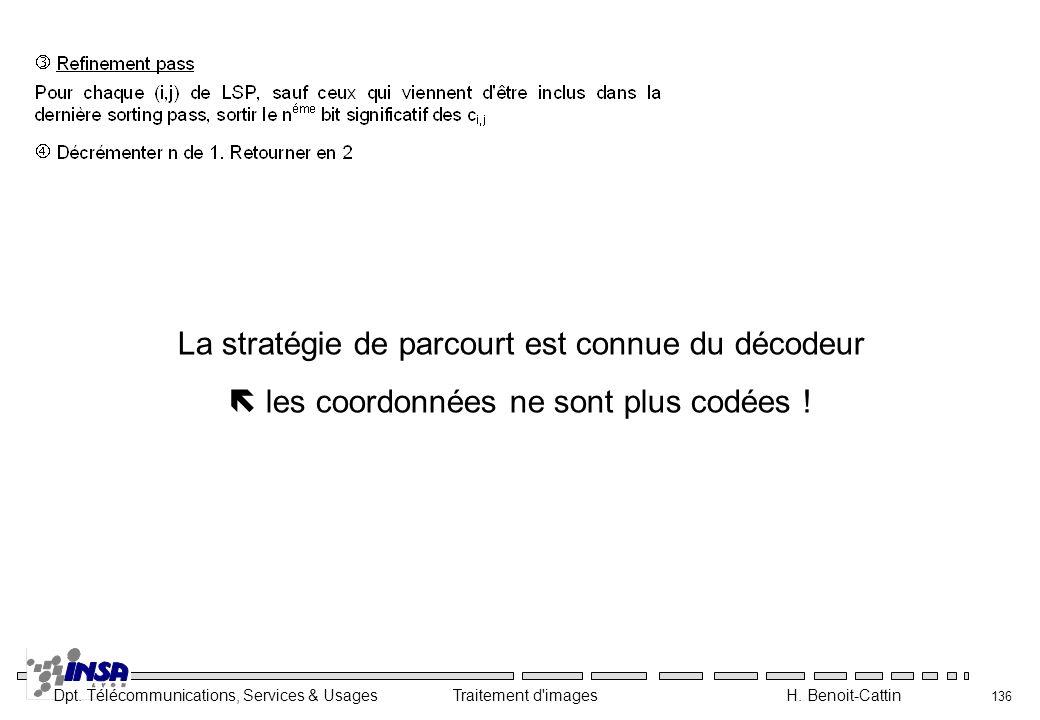 Dpt. Télécommunications, Services & Usages Traitement d'images H. Benoit-Cattin 136 La stratégie de parcourt est connue du décodeur les coordonnées ne