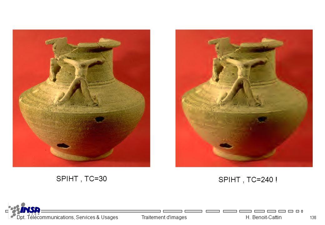 Dpt. Télécommunications, Services & Usages Traitement d'images H. Benoit-Cattin 138 SPIHT, TC=30 SPIHT, TC=240 !